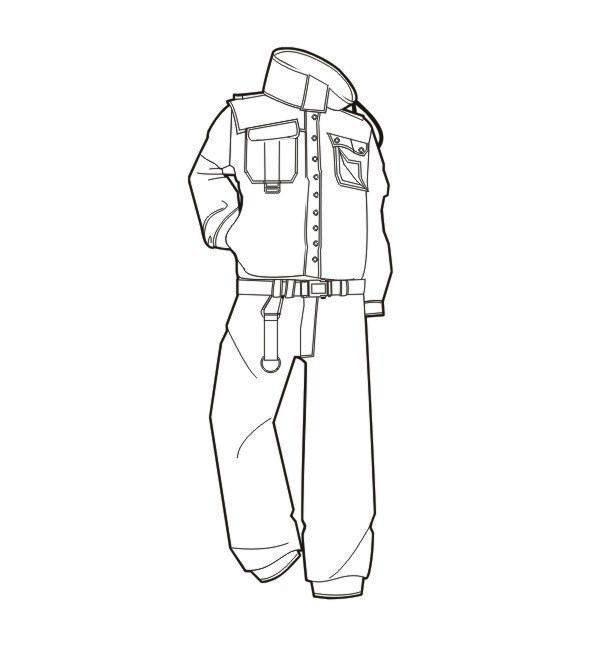 工装连体服款式图-职业服装设计-服装设计