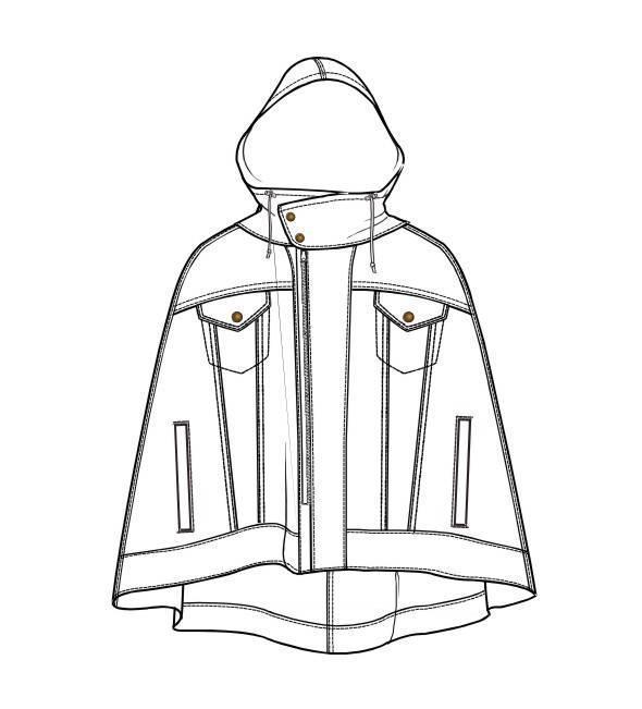 外套披风大衣款式图-女装设计-服装设计