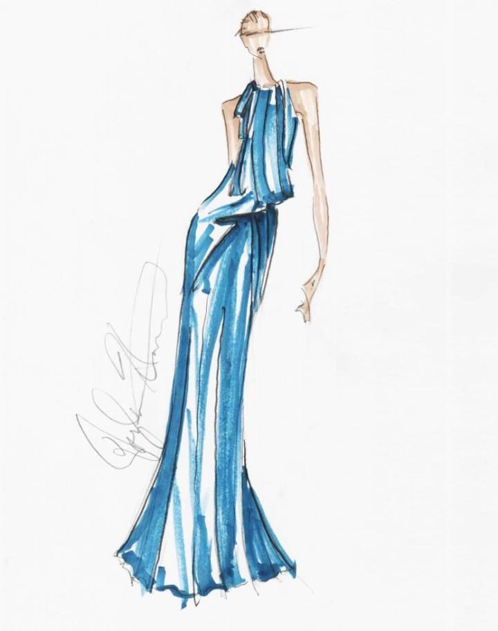 晚礼服马克笔-婚纱礼服设计-服装设计