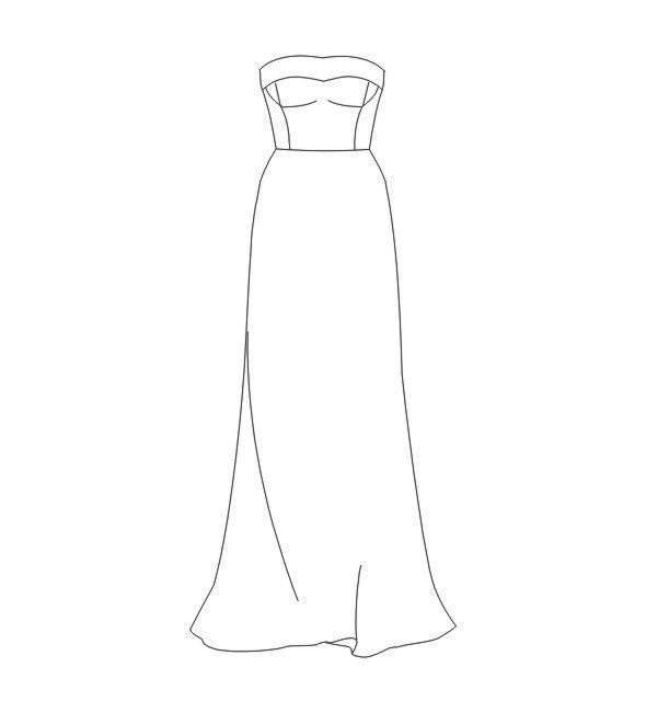抹胸礼裙款式图-婚纱礼服设计-服装设计
