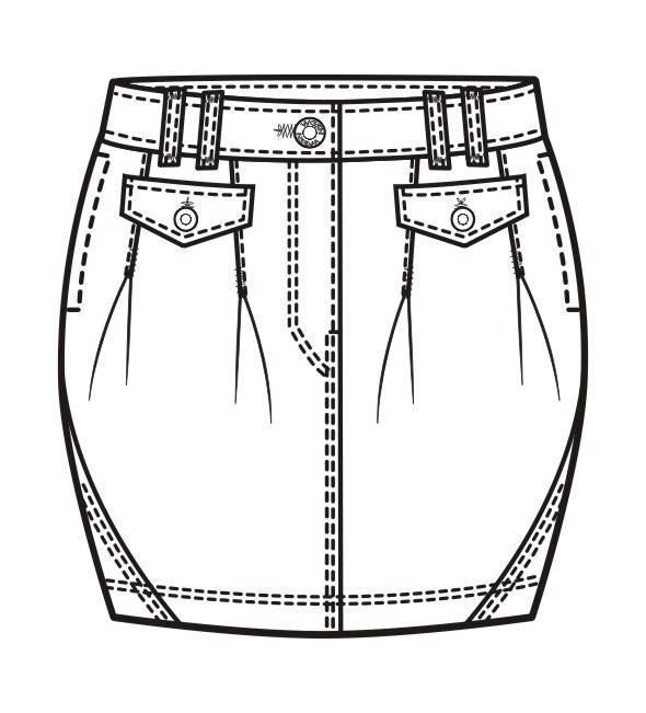 牛仔短裙款式图