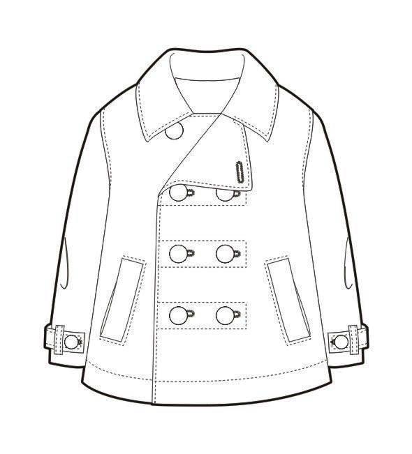 大衣外套款式图-童装设计-服装设计