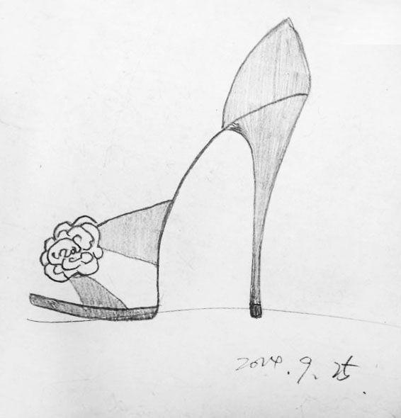 高跟鞋手稿-鞋帽配饰设计-服装设计_乐乐简笔画