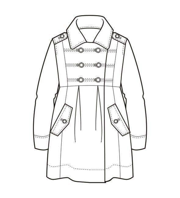 大衣外套款式图-女装设计-服装设计
