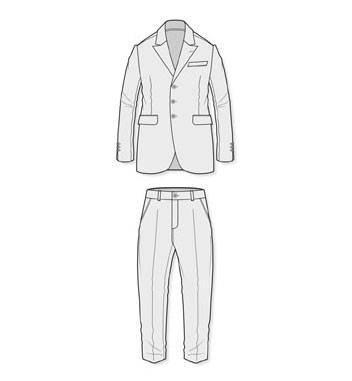 西装套装款式图-男装设计-服装设计
