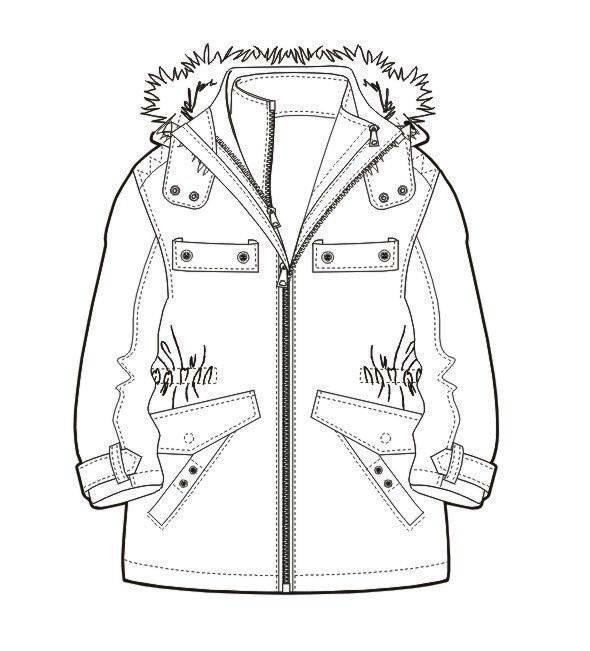 棉大衣款式图-女装设计-服装设计