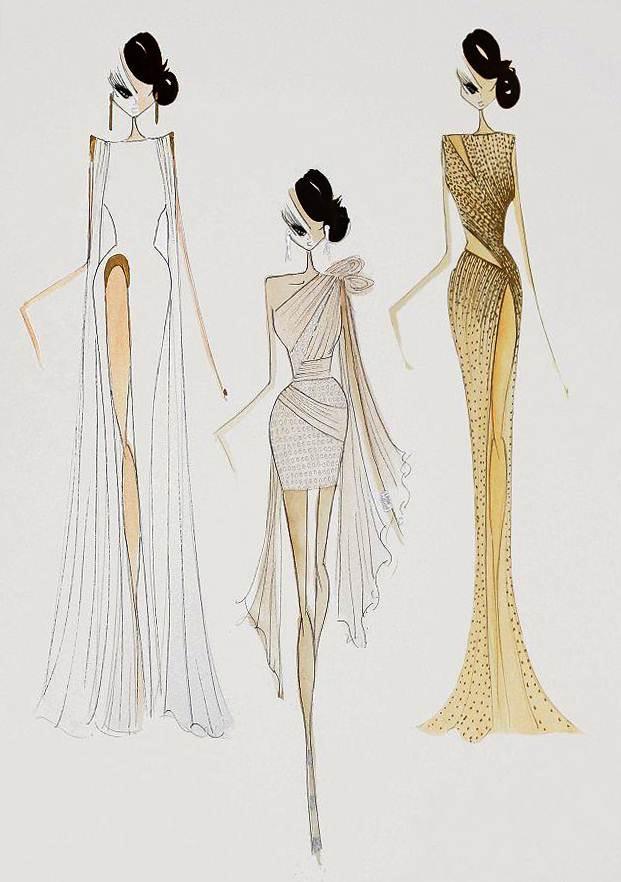 晚礼服手绘效果图稿-婚纱礼服设计-服装设计