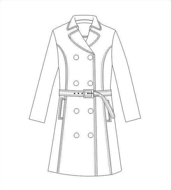 风衣大衣款式图-女装设计-服装设计