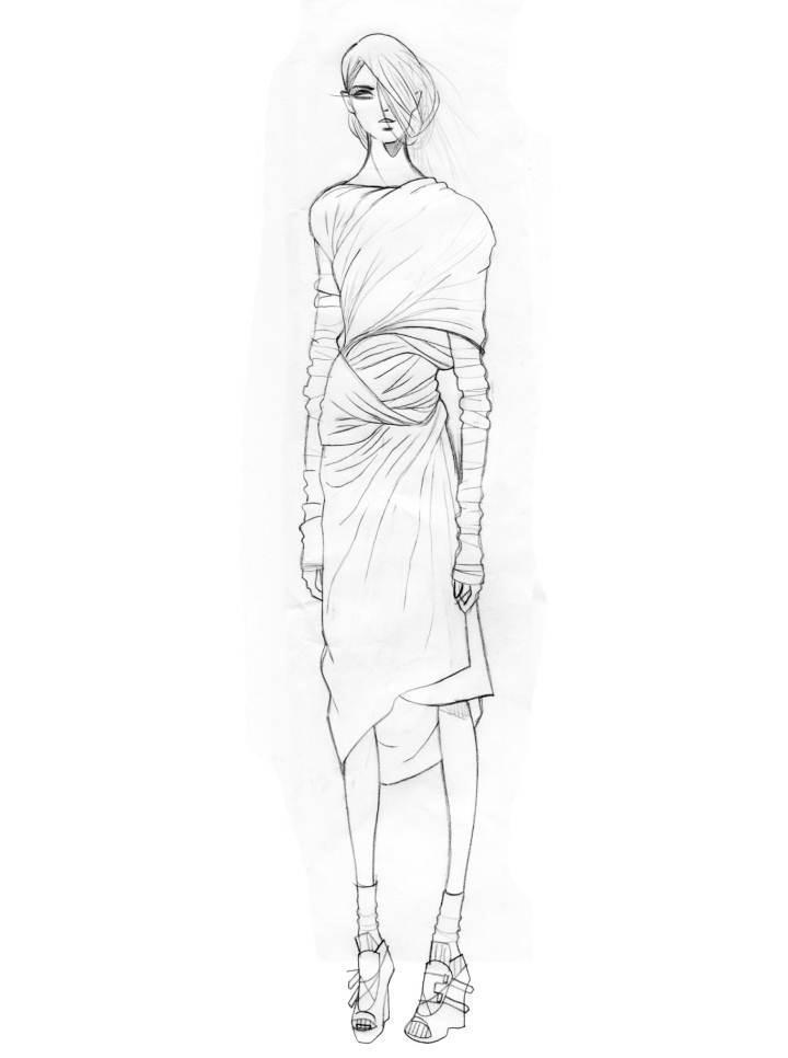 针织裹身连衣裙-毛衫针织设计-服装设计