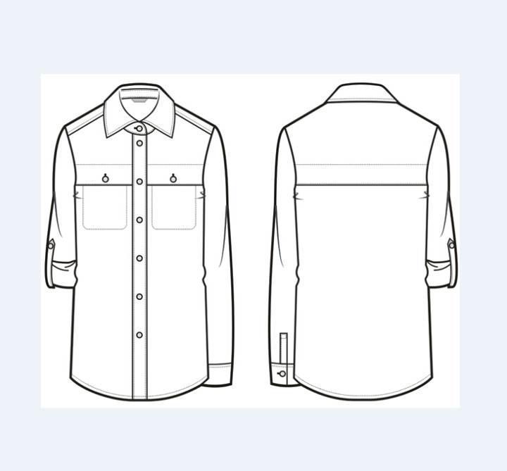 创意口袋人棉衬衫作品-创意口袋人棉衬衫款式图