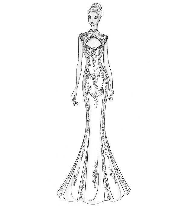 旗袍手绘设计效果图