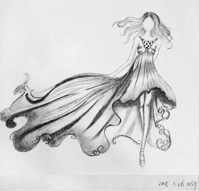 素描婚纱图片简笔画