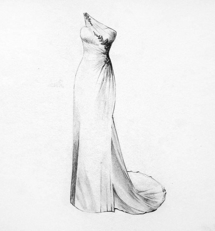 婚紗禮服鉛筆稿-婚紗禮服設計-服裝設計