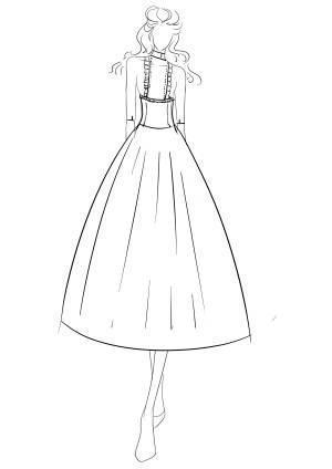 公主婚纱图片简笔画