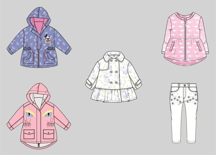 女童秋款外套款式图-童装设计-服装设计