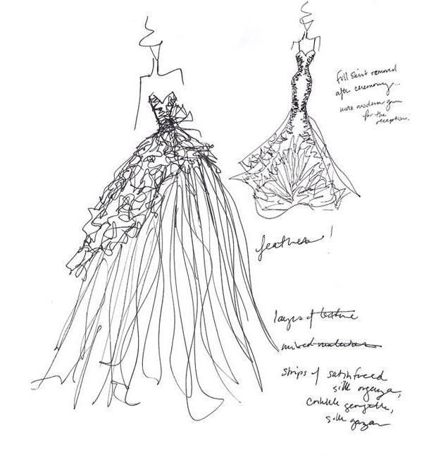 礼服线稿-婚纱礼服设计-服装设计