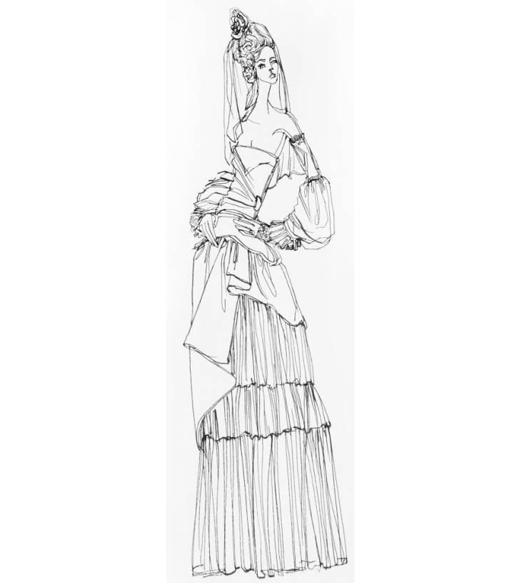 创意礼服线稿-婚纱礼服设计-服装设计