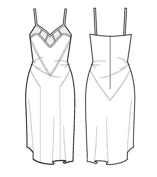 吊带裙子款式图-女装设计-服装设计