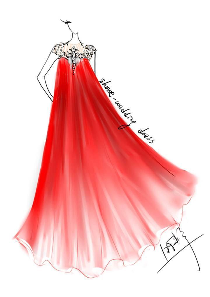 礼服效果图-婚纱礼服设计-服装设计图片