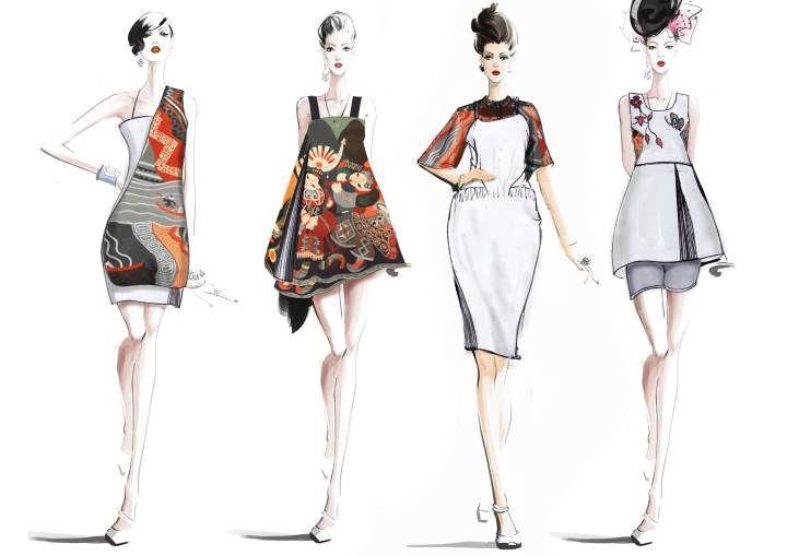 ol女时装手绘效果图作品 ol女时装手绘效果图款式图