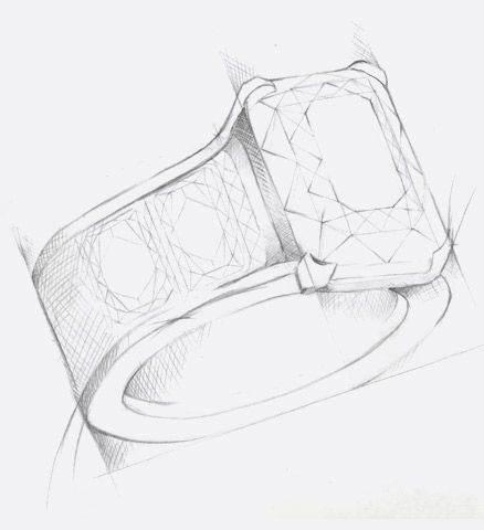 戒指手绘设计稿