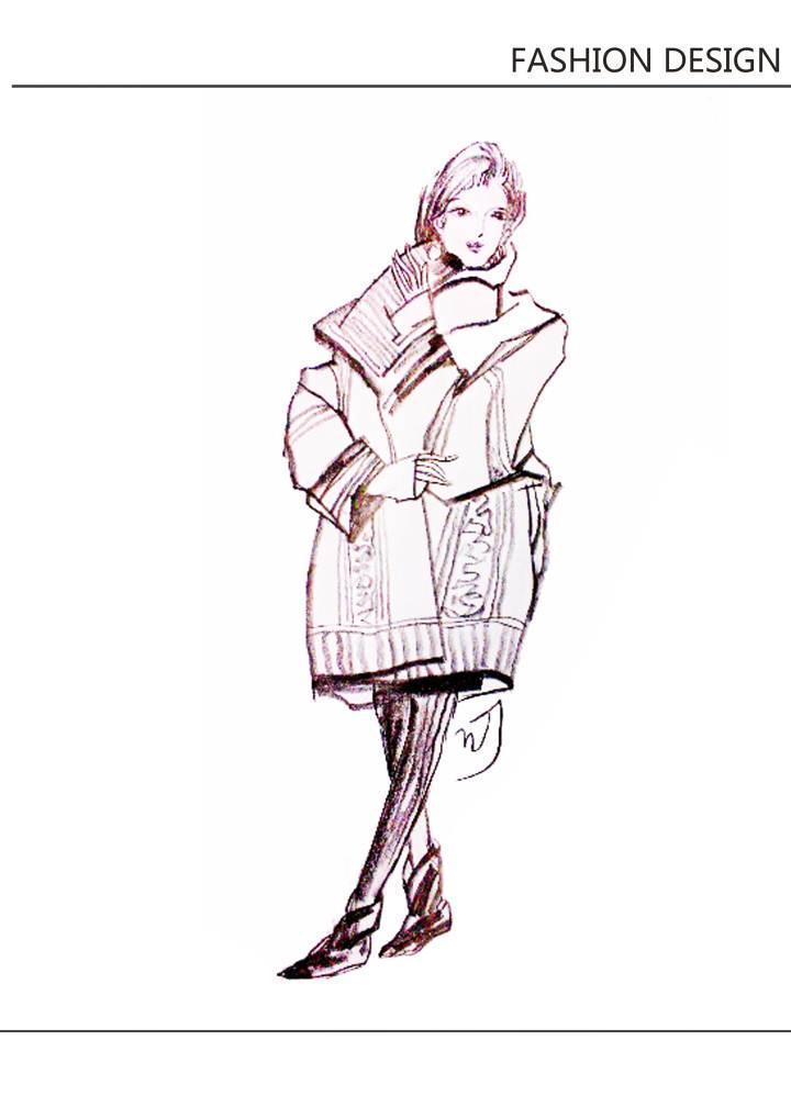 时装画线稿-毛衫针织设计-服装设计