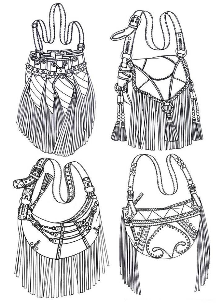 流苏包款式-鞋帽配饰设计-服装设计