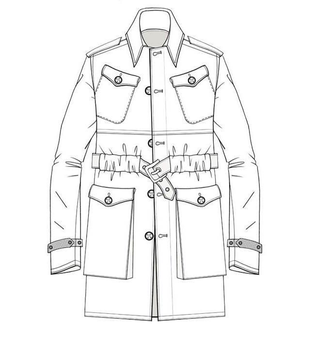 大衣款式图-男装设计-服装设计