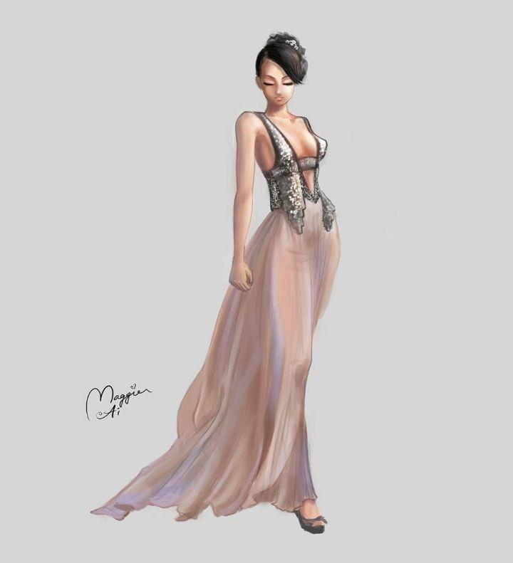 时装插画礼服