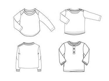 童装长袖衫款式图-童装设计-服装设计