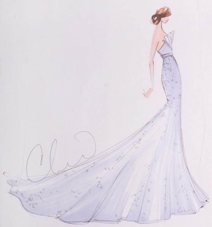 礼服设计图手稿 婚纱展示