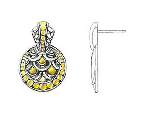 珠宝耳饰手绘效果图稿
