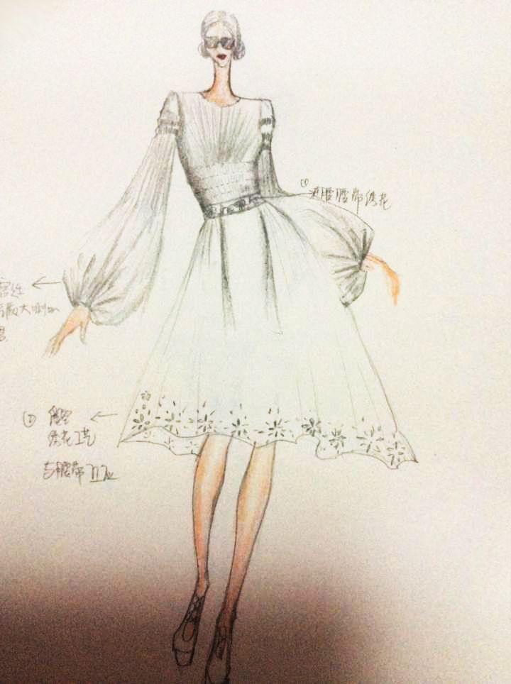 手绘图-女装设计-服装设计
