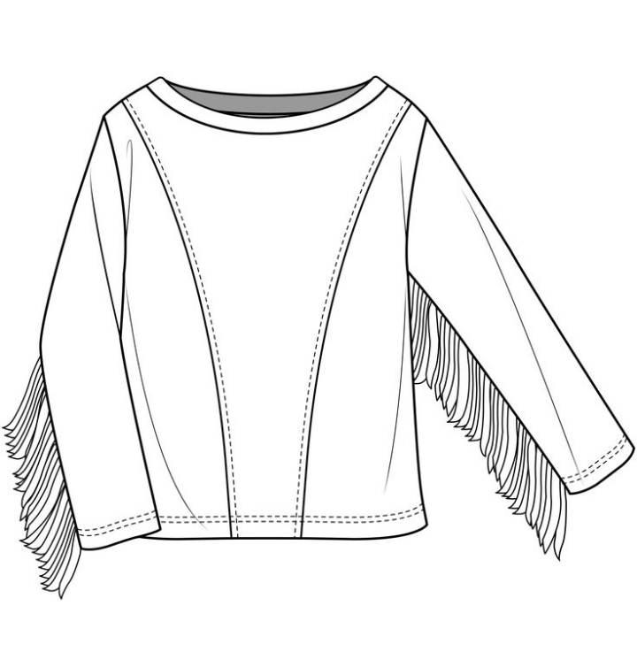 流苏袖卫衣款式图-女装设计-服装设计