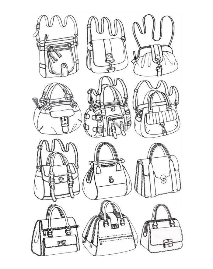 箱包款式图-鞋帽配饰设计-服装设计