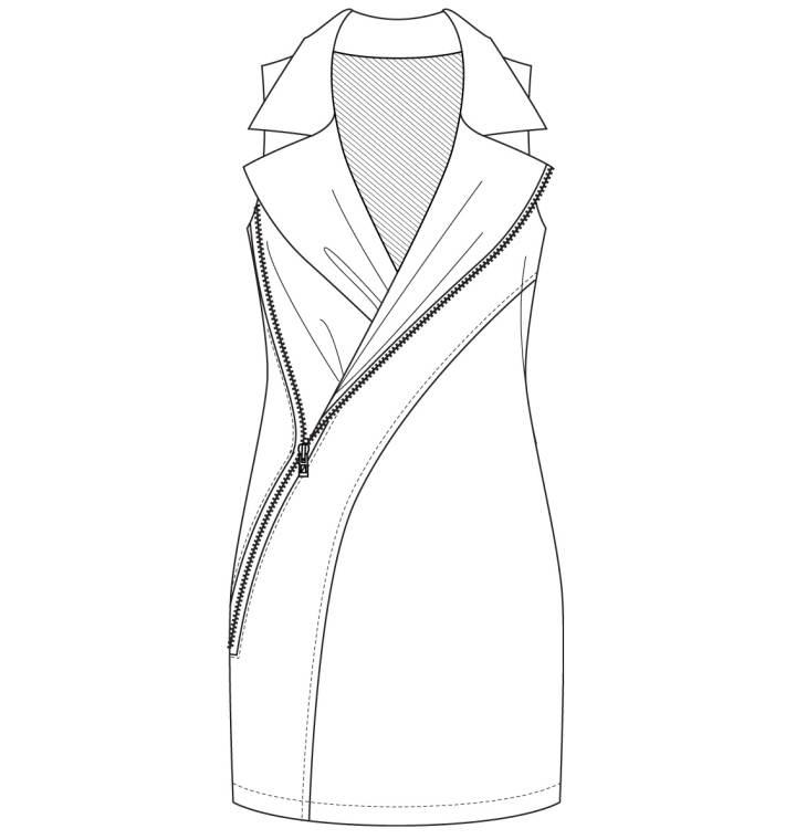 中长马甲款式图-女装设计-服装设计