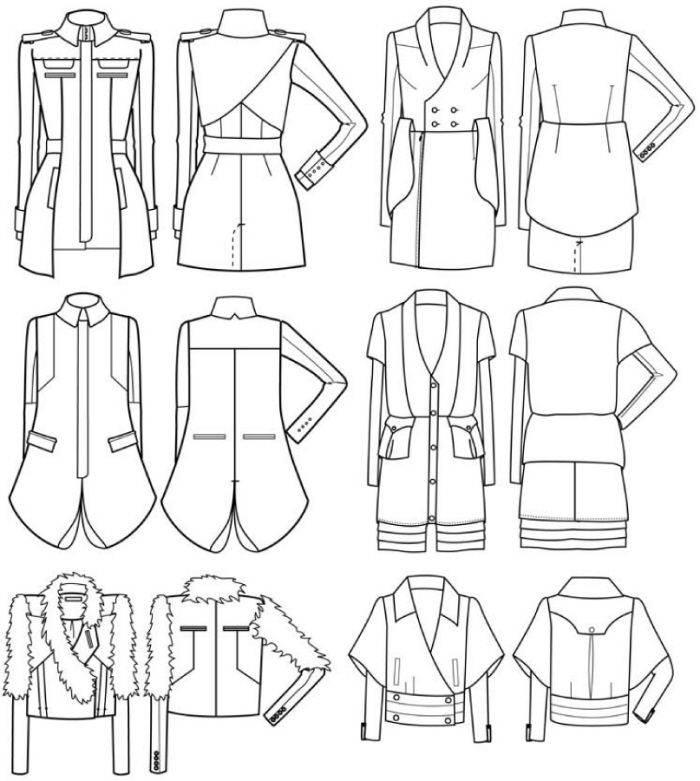 外套风衣款式图-女装设计-服装设计