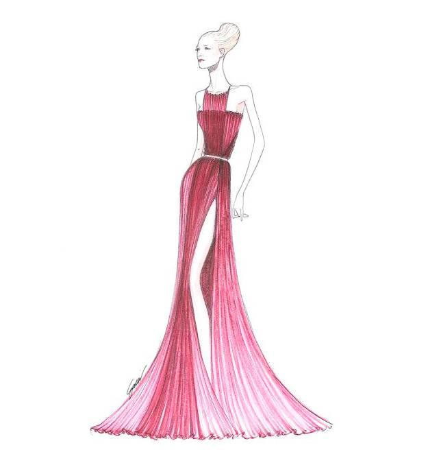 晚礼服图稿作品-晚礼服图稿款式图图片