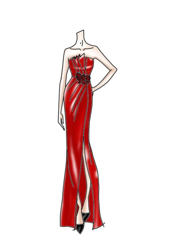 红色礼服-婚纱礼服设计-服装设计