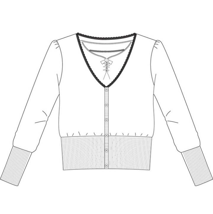 短开衫款式图-毛衫针织设计-服装设计