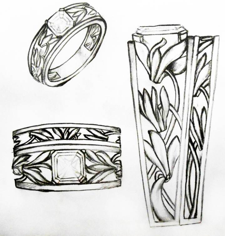 戒指手绘效果图-鞋帽配饰设计-服装设计