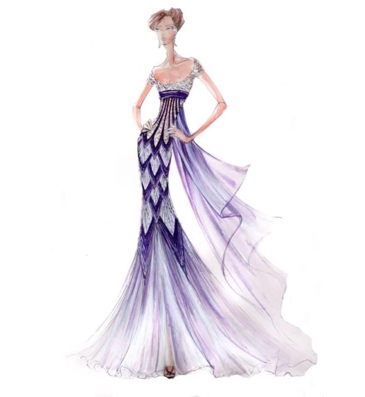 晚礼服效果图-婚纱礼服设计-服装设计图片