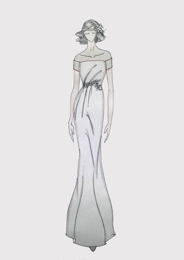 晚礼服款式图正反手绘