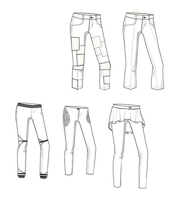 裤子款式图多样