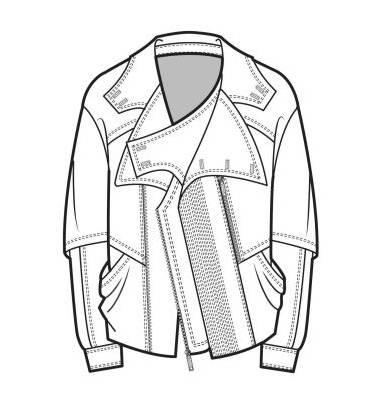机车夹克款式图-男装设计-服装设计