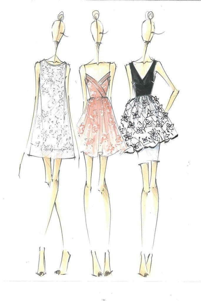 连衣裙手稿收集-女装设计-服装设计