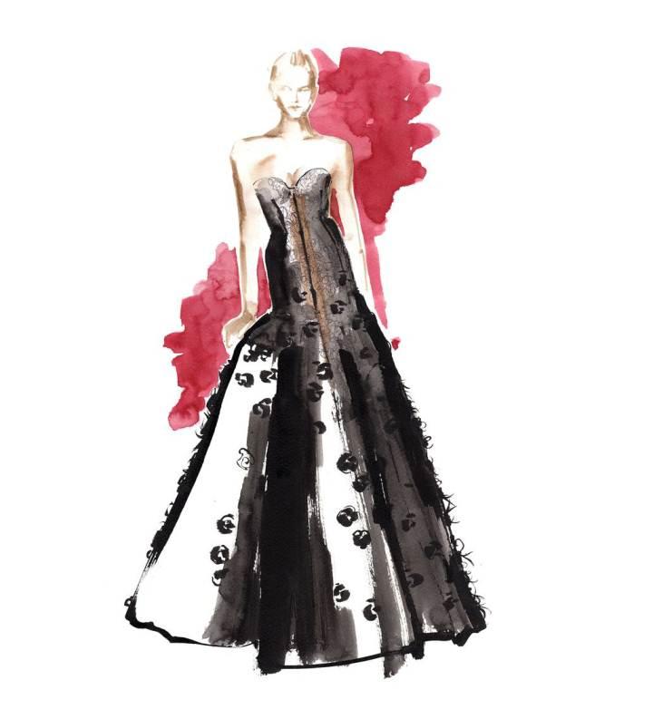 晚礼服画稿搜集-婚纱礼服设计-服装设计