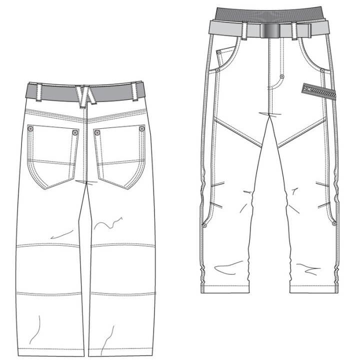裤子款式图-男装设计-服装设计