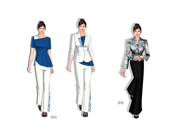 青花瓷系列设计-职业服装设计-服装设计