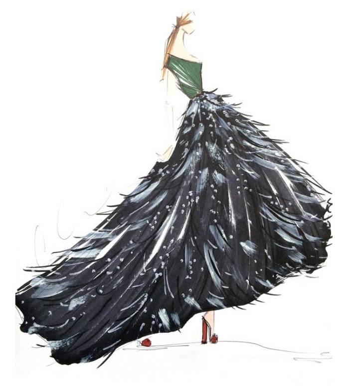 晚礼服手绘搜集作品-晚礼服手绘搜集款式图图片